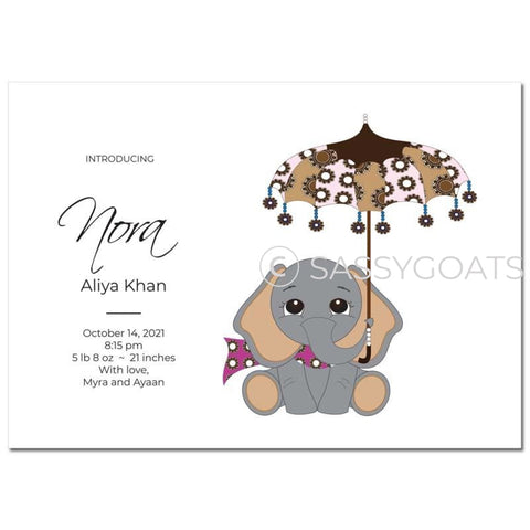 Baby Shower Announcement - Elephant Umbrella