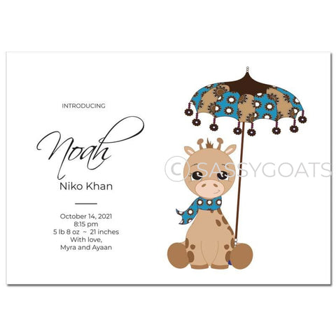 Baby Shower Announcement - Giraffe Umbrella