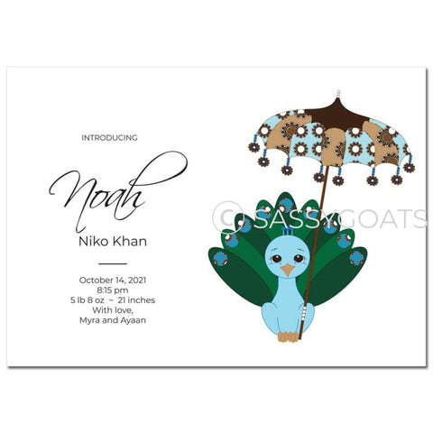 Baby Shower Announcement - Peacock Umbrella