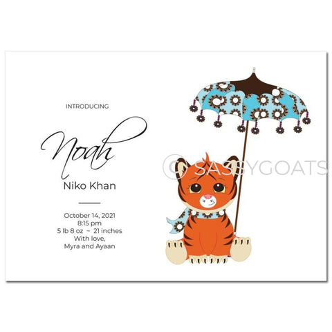 Baby Shower Announcement - Tiger Umbrella