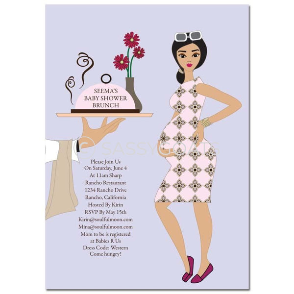 Baby Shower Invitation - Dining Diva Brunette