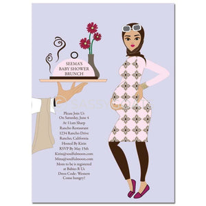 Baby Shower Invitation - Dining Diva Headscarf Hijab