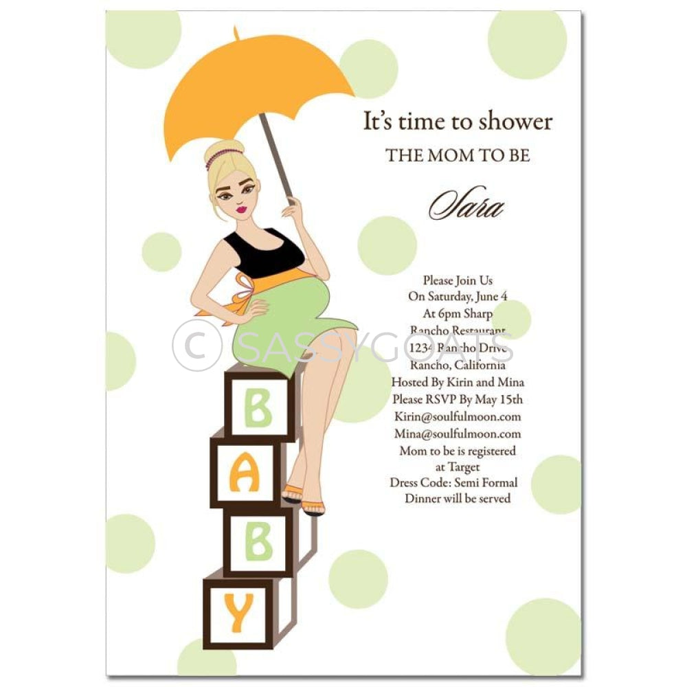 Baby Shower Invitation - Diva Blocks Blonde