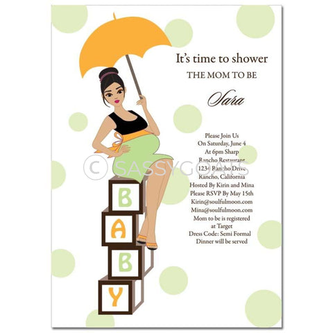 Baby Shower Invitation - Diva Blocks Brunette