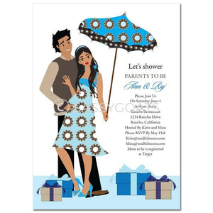 Baby Shower Invitation - Fancy Umbrella Brunette