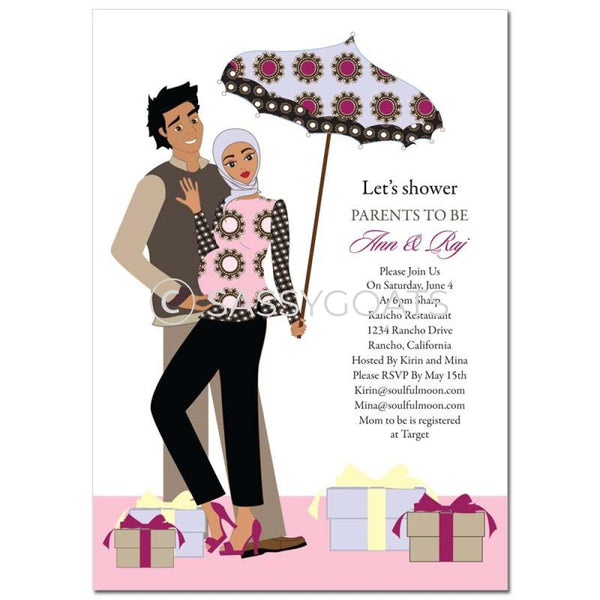 Baby Shower Invitation - Fancy Umbrella Headscarf Hijab