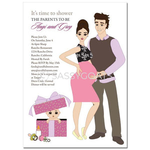 Baby Shower Invitation - Glam Couple Brunette