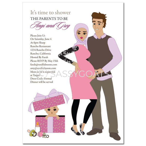 Baby Shower Invitation - Glam Couple Headscarf Hijab