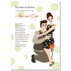 Baby Shower Invitation - Hugs Brunette