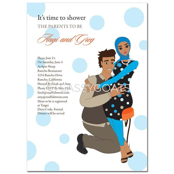 Baby Shower Invitation - Hugs Headscarf Hijab