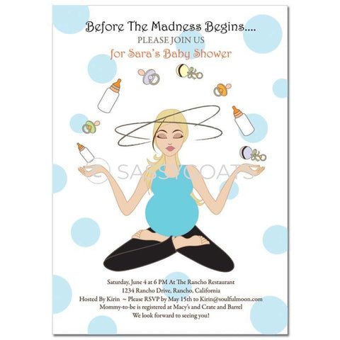 Baby Shower Invitation - Meditating Mommy Blonde