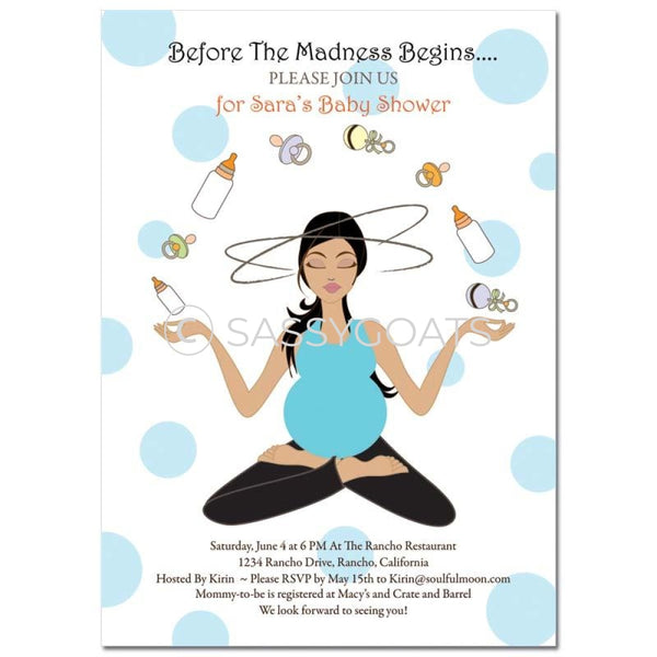 Baby Shower Invitation - Meditating Mommy Brunette
