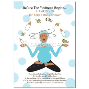 Baby Shower Invitation - Meditating Mommy Headscarf Hijab