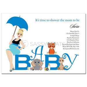Baby Shower Invitation - Safari Animals Blonde