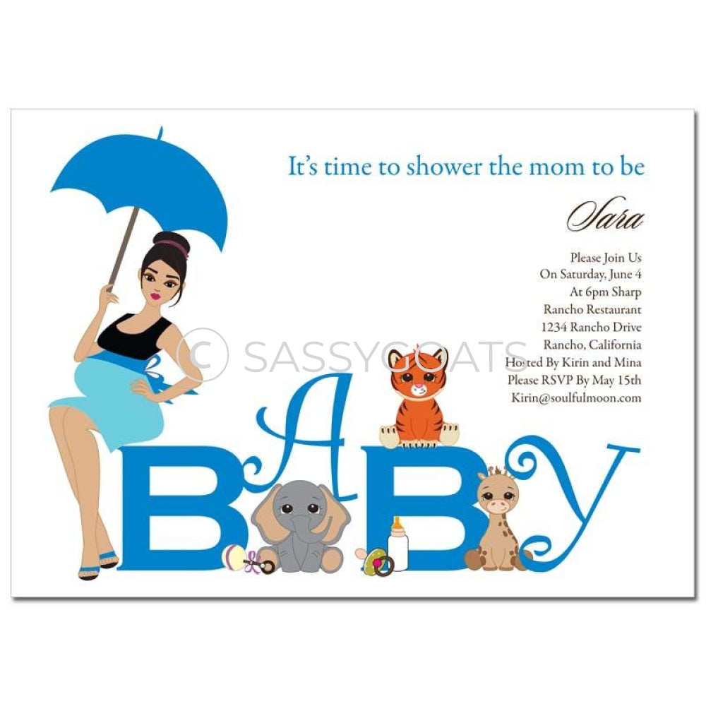 Baby Shower Invitation - Safari Animals Brunette