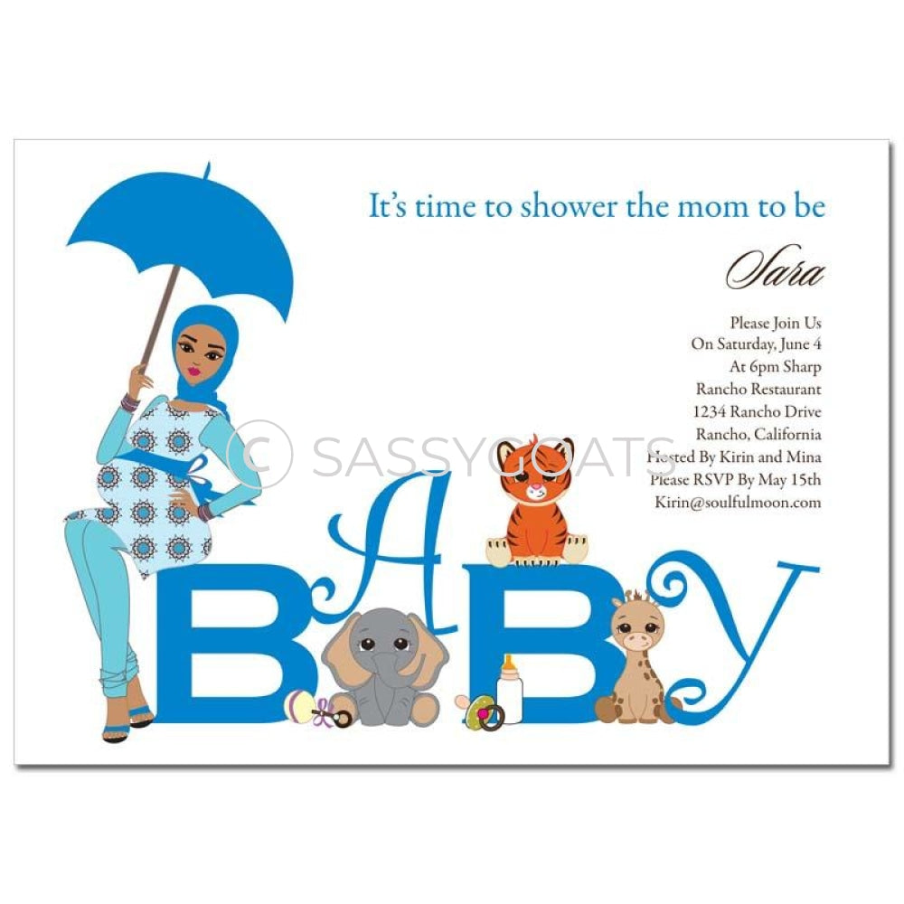 Baby Shower Invitation - Safari Animals Headscarf Hijab