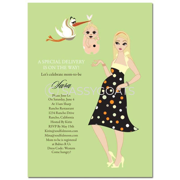 Baby Shower Invitation - Spring Delivery Blonde