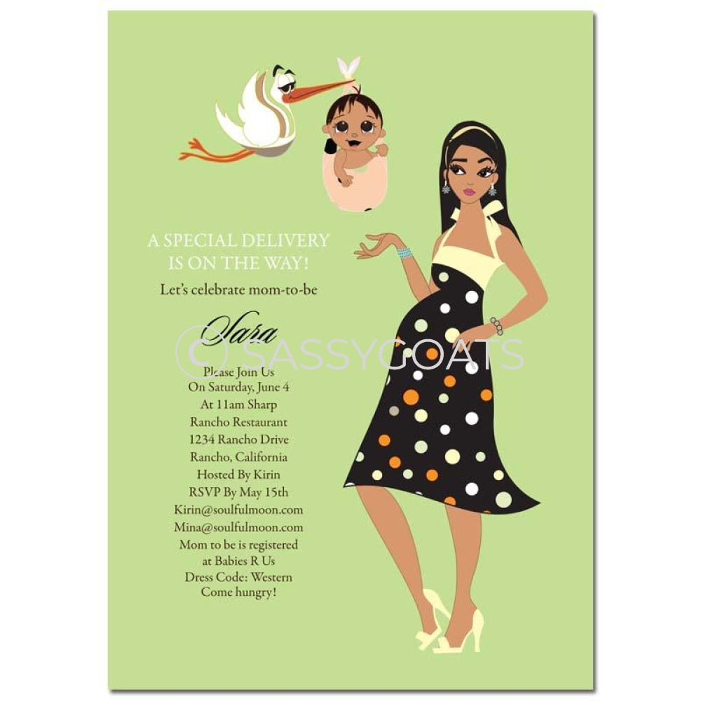 Baby Shower Invitation - Spring Delivery Brunette