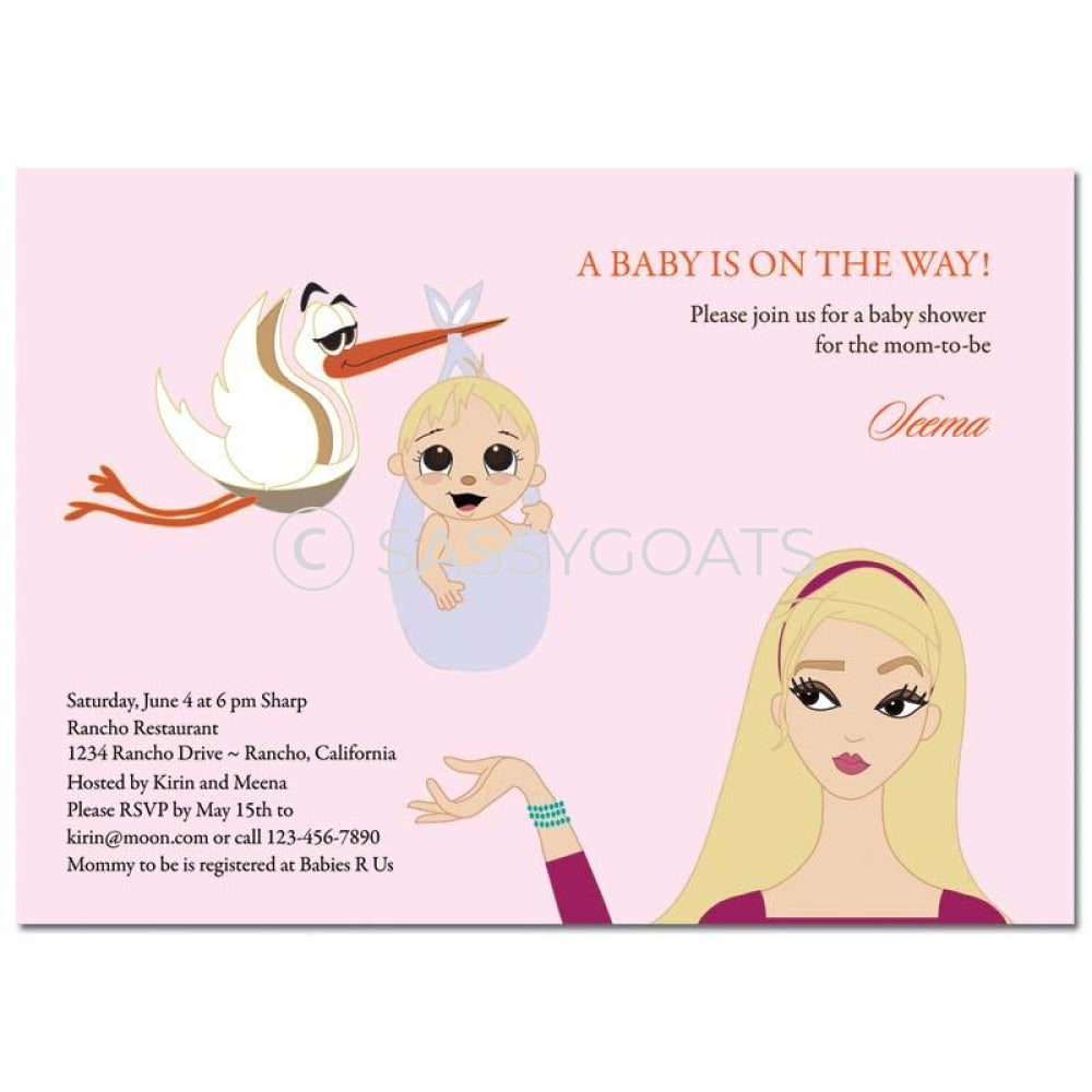 Baby Shower Invitation - Stork Mommy Blonde