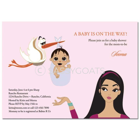Baby Shower Invitation - Stork Mommy Brunette