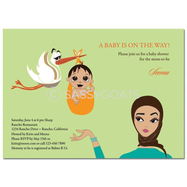 Baby Shower Invitation - Stork Mommy Headscarf Hijab