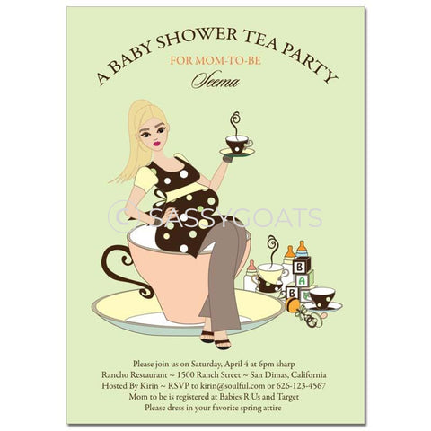 Baby Shower Invitation - Teacup Mommy Blonde