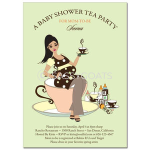 Baby Shower Invitation - Teacup Mommy Brunette