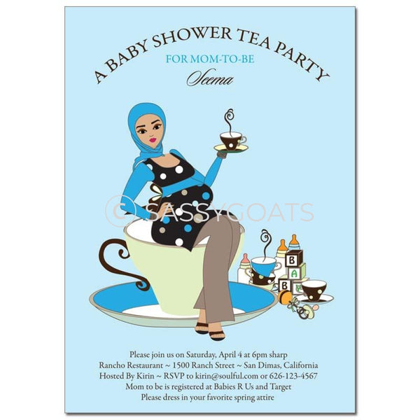 Baby Shower Invitation - Teacup Mommy Headscarf Hijab