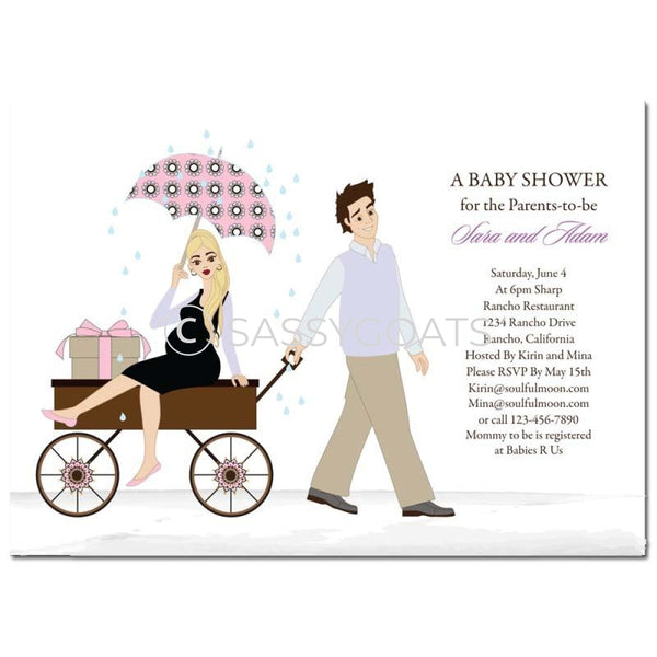 Baby Shower Invitation - Wagon Diva Blonde