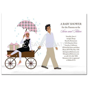 Baby Shower Invitation - Wagon Diva Headscarf Hijab