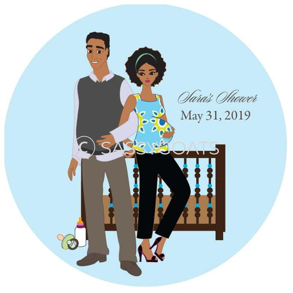 Baby Shower Party And Gift Stickers - Back To African American