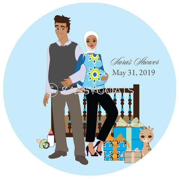 Baby Shower Party And Gift Stickers - Back To Headscarf Hijab