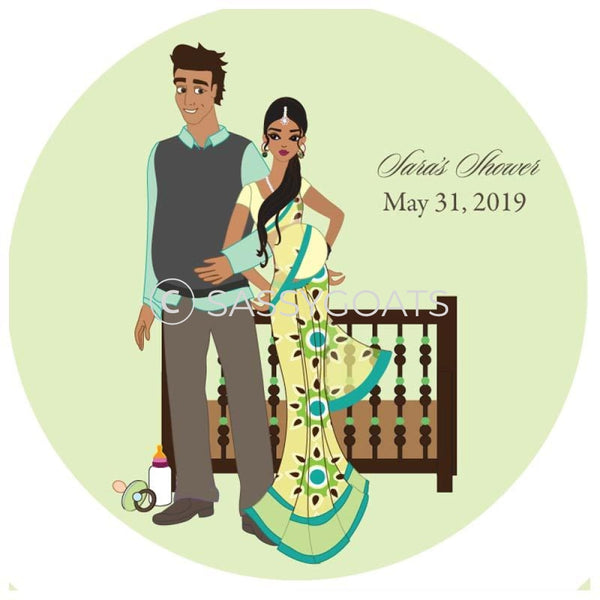 Baby Shower Party And Gift Stickers - Back To South Asian