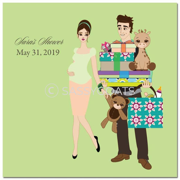 Baby Shower Party And Gift Stickers - Bounty Brunette