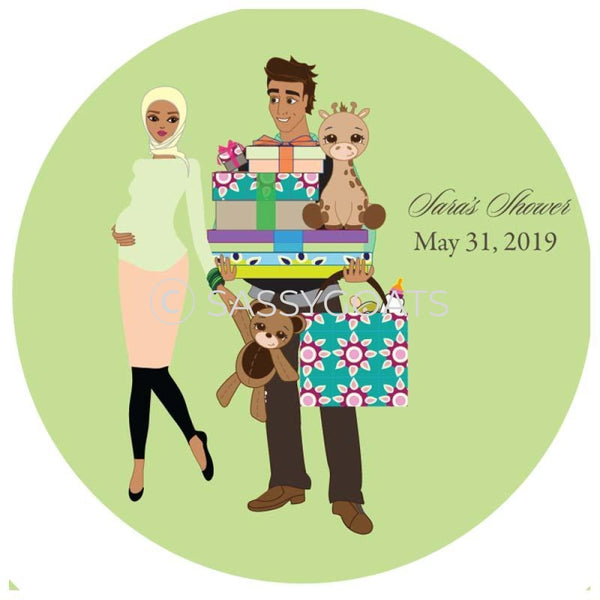 Baby Shower Party And Gift Stickers - Bounty Headscarf Hijab