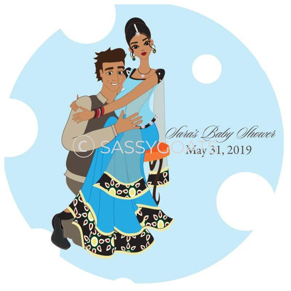 Baby Shower Party And Gift Stickers - Couple Hugs South Asian