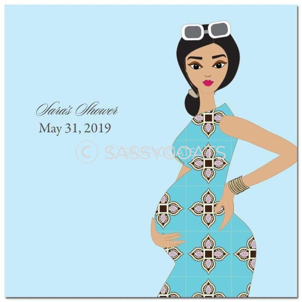 Baby Shower Party And Gift Stickers - Dining Diva Brunette
