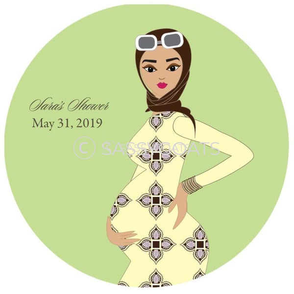 Baby Shower Party And Gift Stickers - Dining Diva Headscarf Hijab