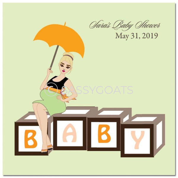 Baby Shower Party And Gift Stickers - Diva Blocks Blonde
