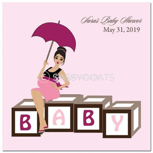 Baby Shower Party And Gift Stickers - Diva Blocks Brunette