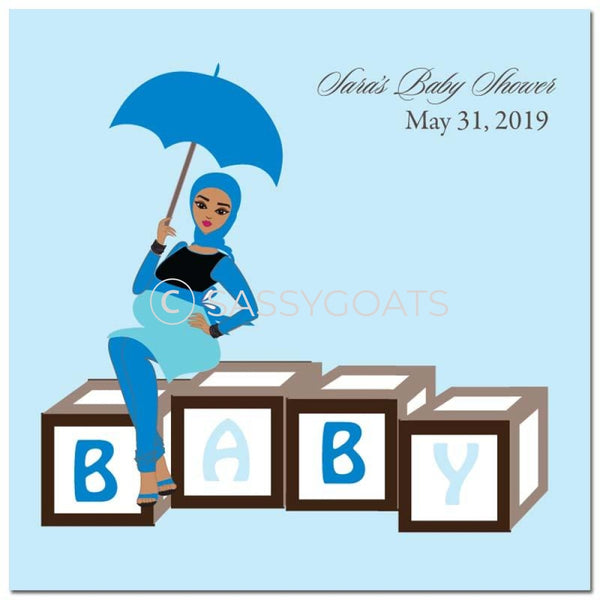 Baby Shower Party And Gift Stickers - Diva Blocks Headscarf Hijab