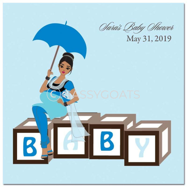 Baby Shower Party And Gift Stickers - Diva Blocks South Asian