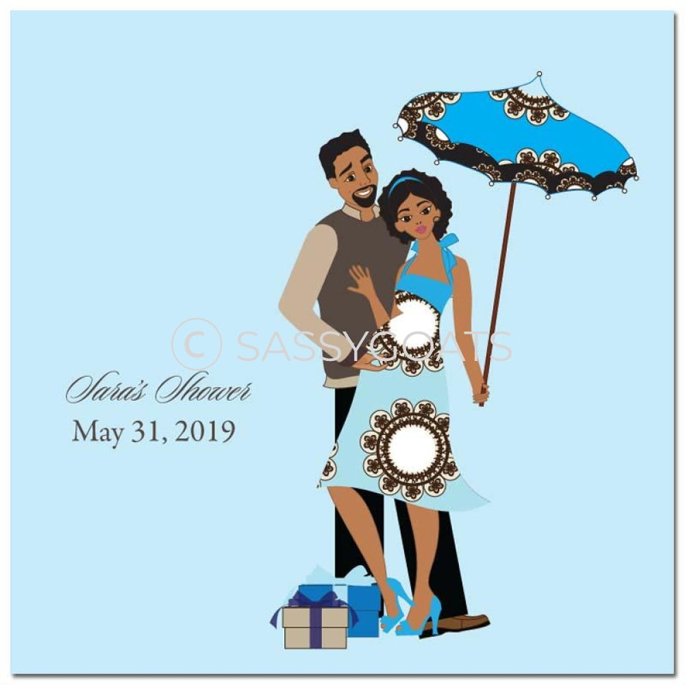 Baby Shower Party And Gift Stickers - Fancy Umbrella African American
