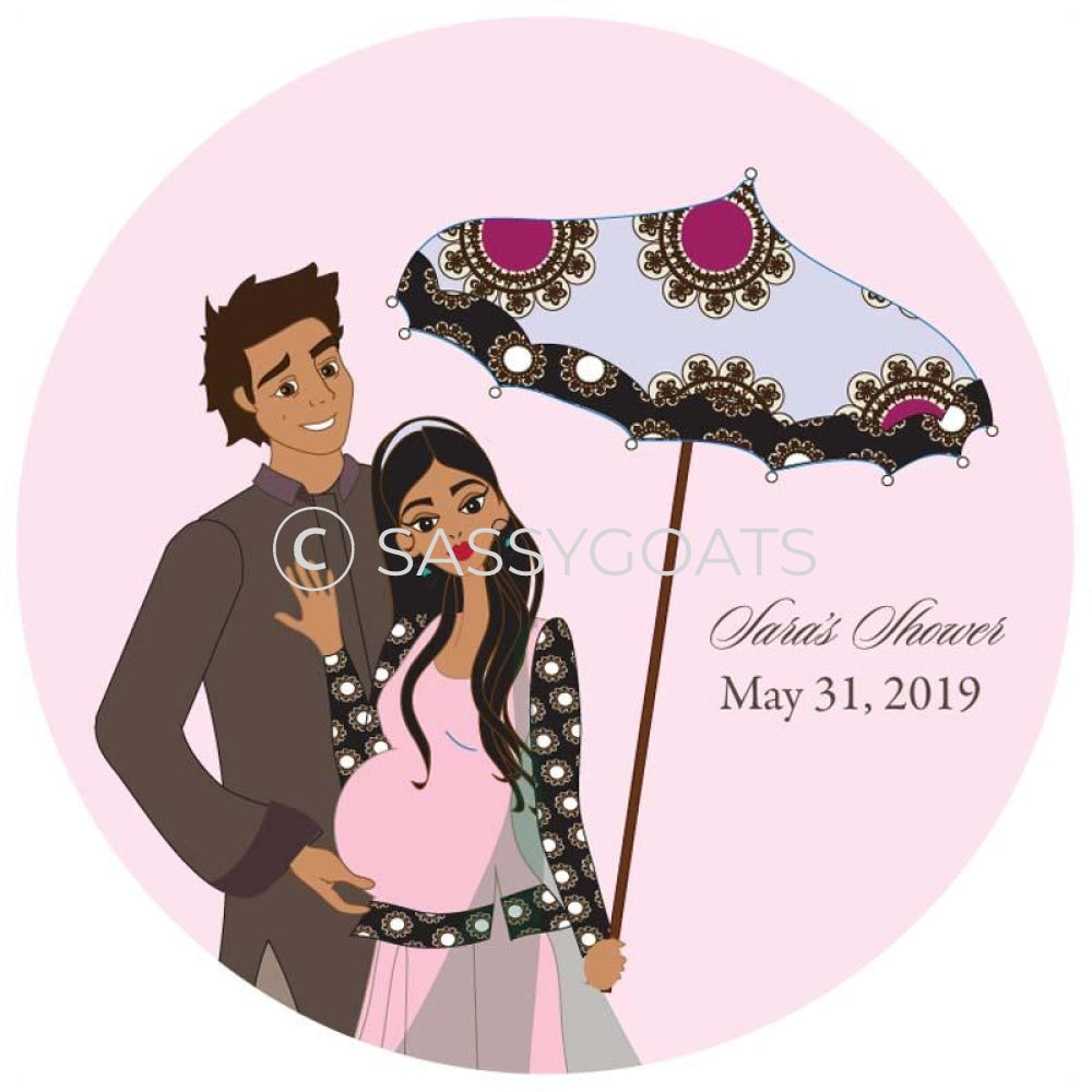 Baby Shower Party And Gift Stickers - Fancy Umbrella South Asian