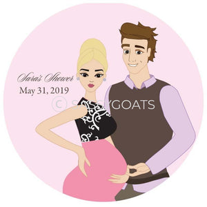 Baby Shower Party And Gift Stickers - Glam Couple Blonde