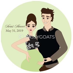 Baby Shower Party And Gift Stickers - Glam Couple Brunette