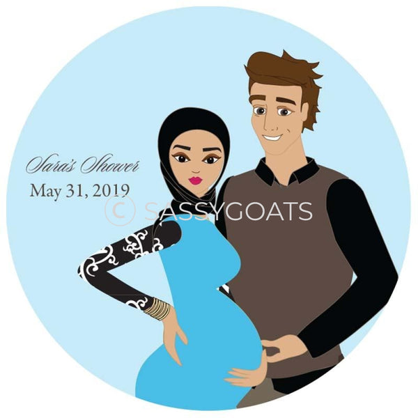 Baby Shower Party And Gift Stickers - Glam Couple Headscarf Hijab