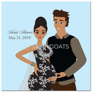 Baby Shower Party And Gift Stickers - Glam Couple South Asian