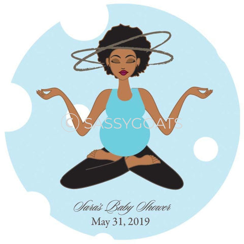 Baby Shower Party And Gift Stickers - Meditating Mommy African American