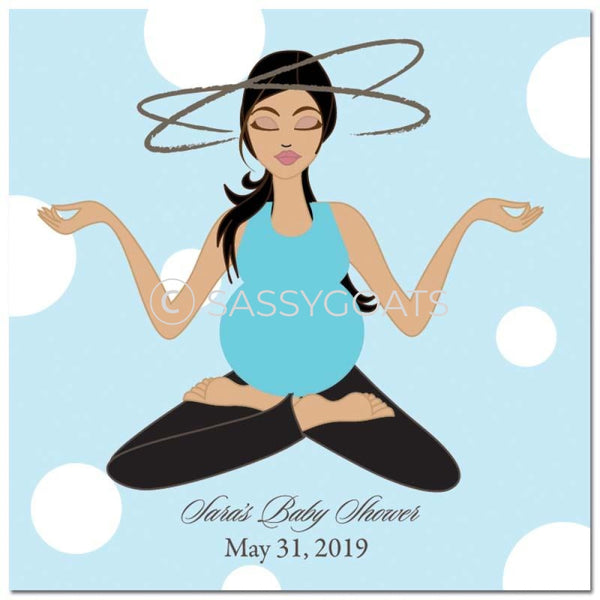 Baby Shower Party And Gift Stickers - Meditating Mommy Brunette
